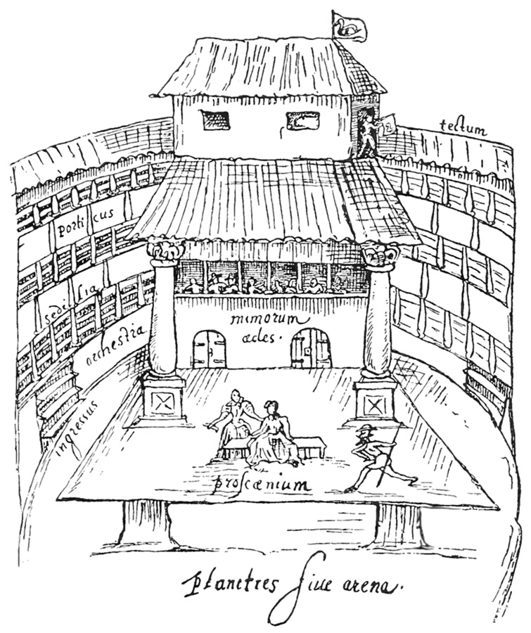 A 1596 sketch of a performance in progress at The Swan